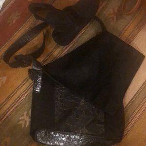 TELEGRAM: Pony Hair & Patent messenger Bag